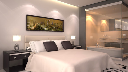 luxury bedroom: bright modern interior of hotel room or condominium  Stock Photo