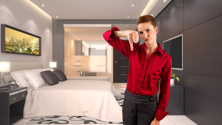 young caucasian businesswoman in a 3d rendered hotel Stockfoto