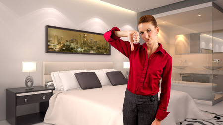 disapprove: young caucasian businesswoman in a 3d rendered hotel Stock Photo