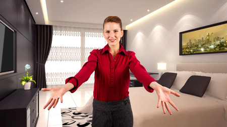 executive apartment: young caucasian businesswoman in a 3d rendered hotel Stock Photo