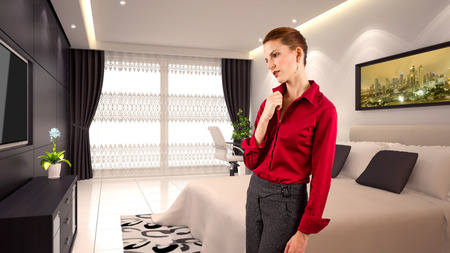 young caucasian businesswoman in a 3d rendered hotel photo