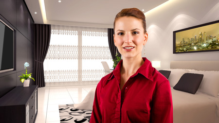 young caucasian businesswoman in a 3d rendered hotel Stock Photo