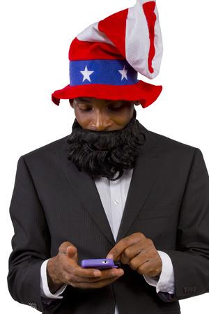 Black man playing as Uncle Sam American Mascot photo