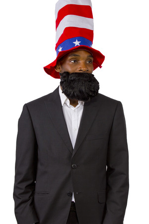 Black man playing as 'Uncle Sam' American Mascot photo