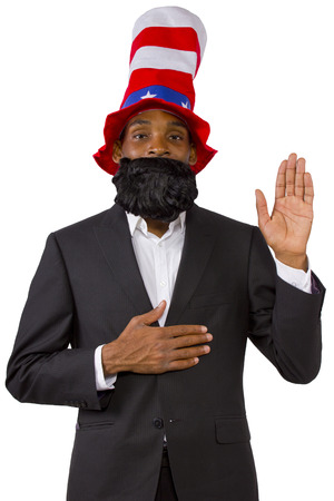 pledge: Black man playing as Uncle Sam American Mascot