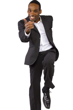 young African American businessman showing motivational positivity