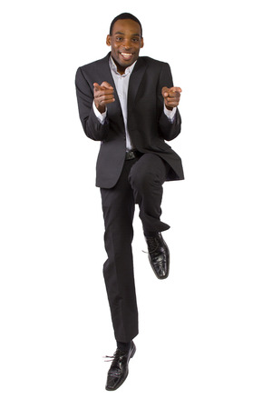 young African American businessman showing motivational positivity photo