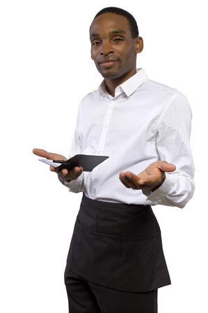 overworked young male waiter on a white background photo