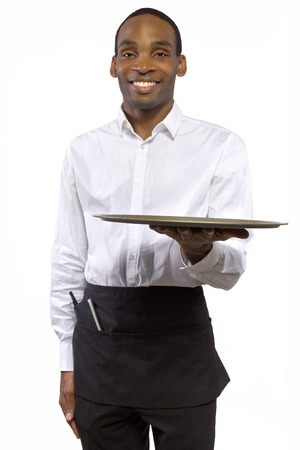 food industry: black male waiter carrying a blank tray for composites