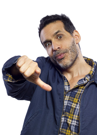 casual dressed man pointing with white background photo