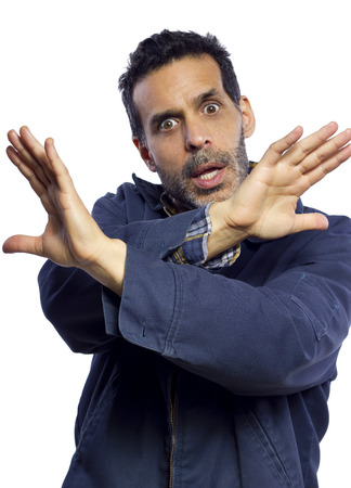 blue collar worker gesturing enough is enough Stock Photo