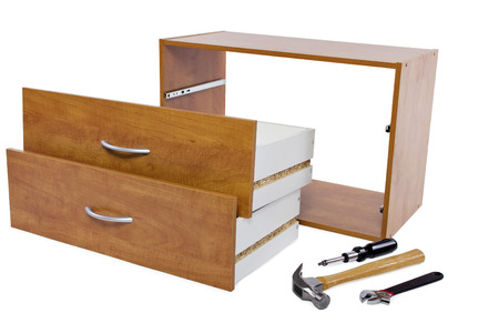 tinkering: Building a shelf or drawer furniture on white