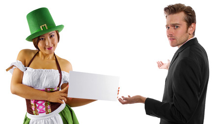 enabling: young female dressed in St Pattys costume serving customers
