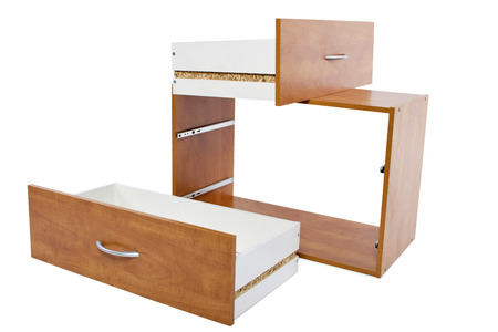 Building a shelf or drawer furniture on white background photo