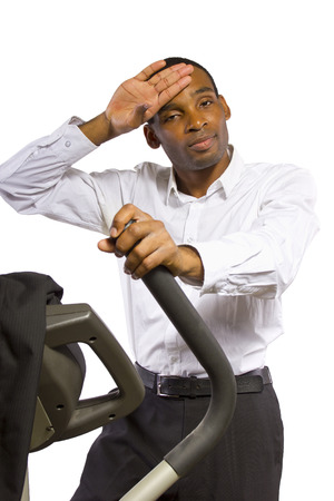 Young black businessman working out after office hours photo