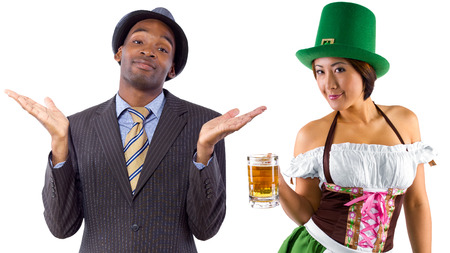 happy client: young female dressed in St Pattys costume serving customers