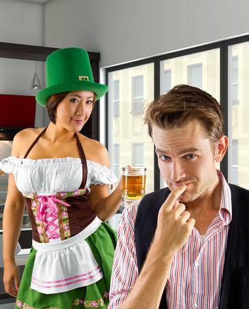 Server dressed in St Patrick Stock Photo