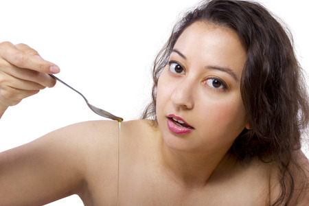 Trending oral health practice of Oil Pulling or Swishing Stock Photo