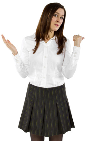 young businesswoman or student with carefree gesture photo