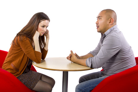 Interracial date that is boring and un-romantic photo
