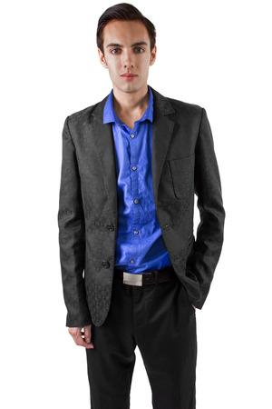 vistiendose: empresario hombre joven vestirse para el trabajo Foto de archivo