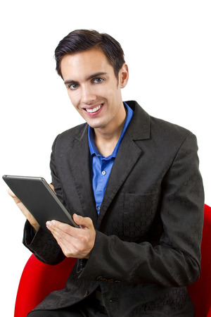 young male with electronic reader  tablet  photo