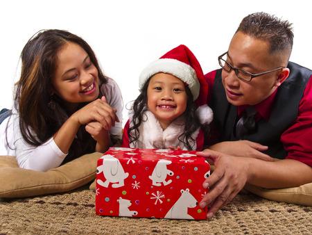 filipino people: Asian Family on Christmas Stock Photo