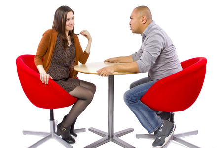 rude interracial couple on a bad date Stock Photo - 27491908