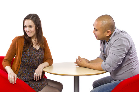 rude interracial couple on a bad date Stock Photo - 27491926