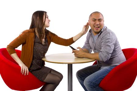 rude interracial couple on a bad date Stok Fotoğraf