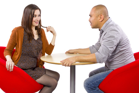 rude interracial couple on a bad date Stock Photo - 27491930