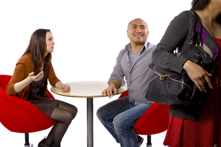 rude interracial couple on a bad date Stock Photo - 27491931