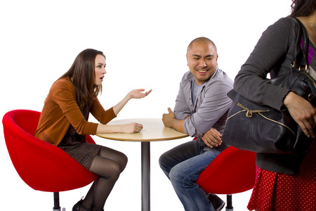 rude interracial couple on a bad date Stock Photo - 27491932