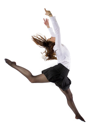 student or businesswoman leaping in a ballet form Stock Photo