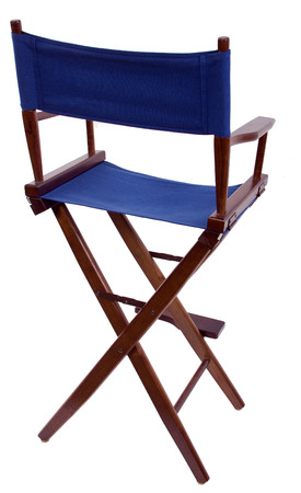 blue directors chair isolated on a white background photo