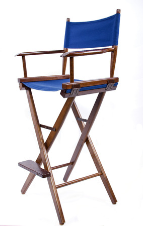 filmmaker: blue directors chair isolated on a white background