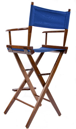 blue directors chair isolated on a white background