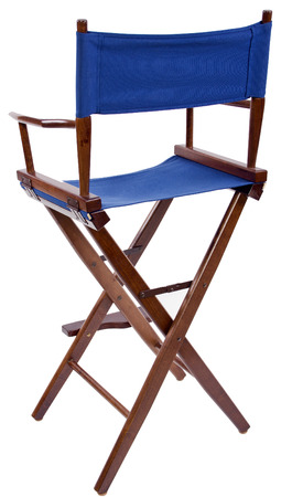 director chair: blue directors chair isolated on a white background