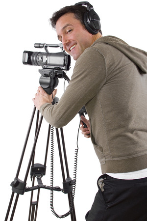 video camera operator with tripod on white background photo