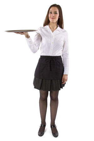 young female waitress holding blank tray for composites 스톡 콘텐츠