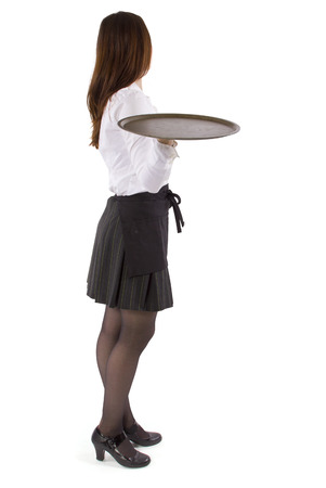 young female waitress holding blank tray for composites Stock Photo
