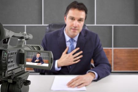 tv studio camera recording male reporter or anchorman Imagens