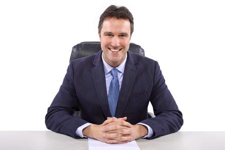 男性のニュース アンカーまたはレポーター白い背景の上 写真素材