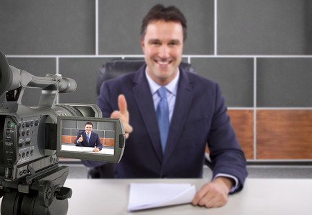 tv studio camera recording male reporter or anchorman photo