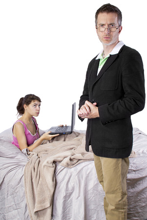 complaining: daughter complaining to dad about cyber bullying