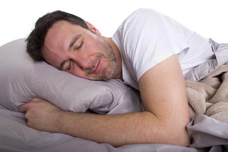 Man in de slaapkamer slapen in op zijn vrije dag Stockfoto - 28584935