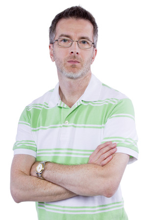 displeased: middle aged man with displeased expression on white background