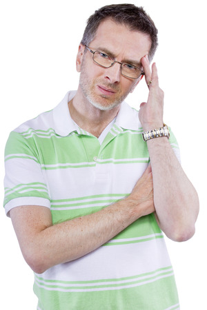 clueless: adult man confused or clueless and thinking expression Stock Photo