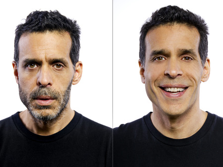 shaving: portrait of a man before and after being groomed