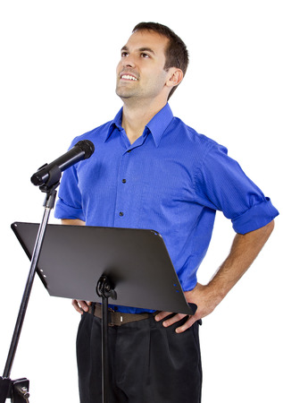 motivator: businessman on a podium making a speech or announcement